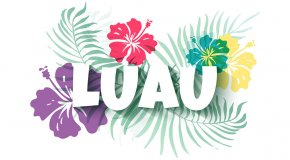Luau sign with flowers
