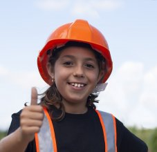 student wearing hard hat